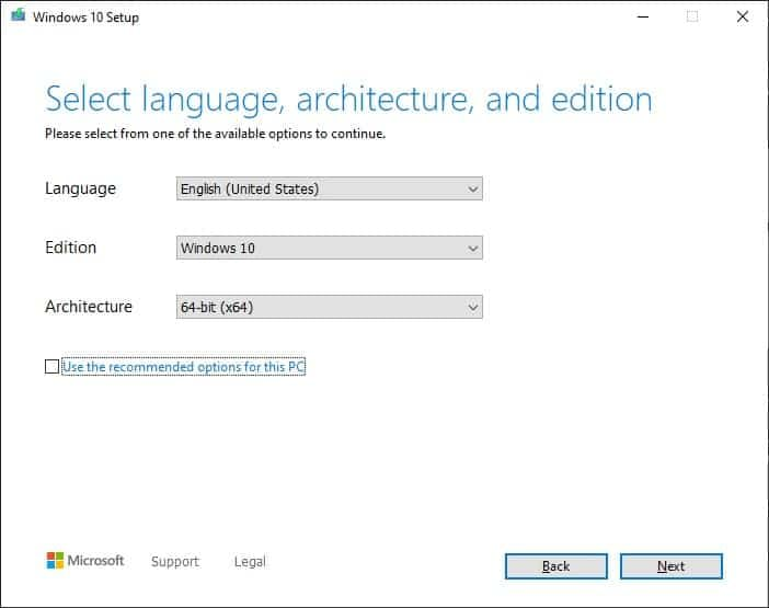 Select language and options